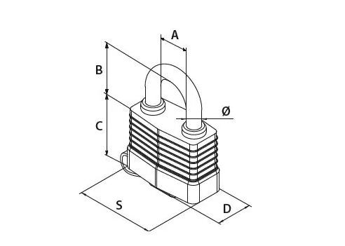 schemat modus aqua - Kłódka wodoszczelna Gerda MODUS AQUA 45mm