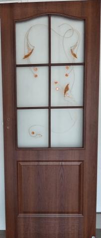 """Drzwi wewnętrzne (lewe) bezprzylgowe 80"""" orzech ciemny"""