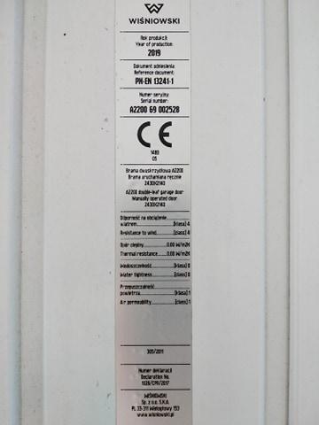 222 - Brama garażowa Wiśniowski 2430X2140 (rozwierna, dwuskrzydłowa)