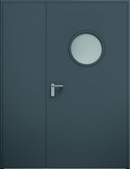11 eco dwuskrzydlowe niesymetryczne bulaj ral7016 - Drzwi stalowe płaszczowe - Wiśniowski