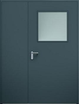 13 eco dwuskrzydlowe niesymetryczne przeszklenie ral7016 - Drzwi stalowe płaszczowe - Wiśniowski