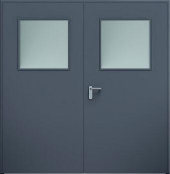 14 eco dwuskrzydlowe przeszklenie antracyt - Drzwi stalowe płaszczowe - Wiśniowski