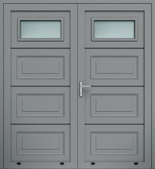 panelowe kasetony przeszklenie A1 dwuskrzydlowe 9007 - Drzwi boczne - Wiśniowski