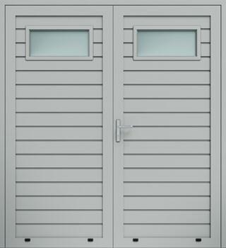 panelowe przetloczenie niskie przeszklenie A1 dwuskrzydlowe 9006 - Drzwi boczne - Wiśniowski