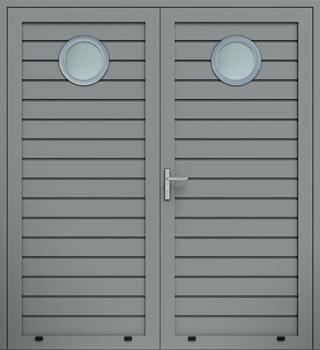 panelowe przetloczenie niskie przeszklenie O dwuskrzydlowe 9007 - Drzwi boczne - Wiśniowski